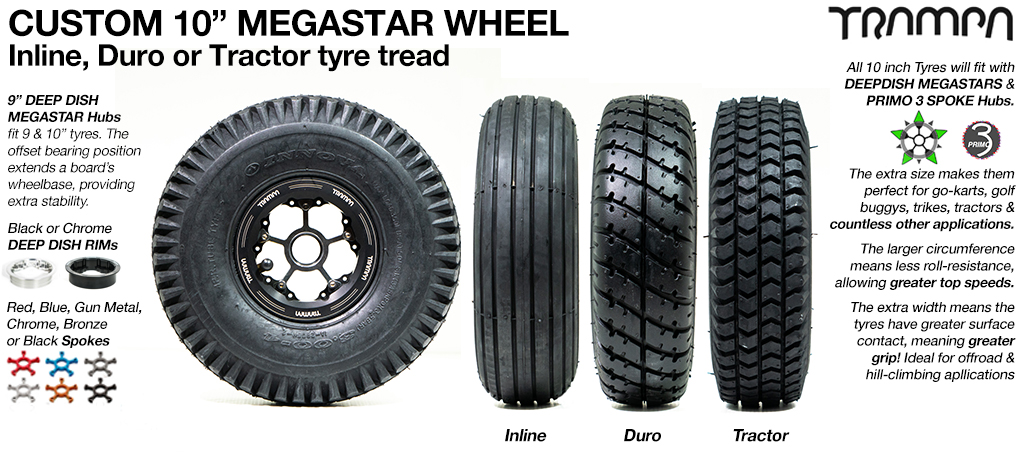 10 inch MEGASTARS Wheel with OFFSET Bearing position & any 10 Inch Tyre