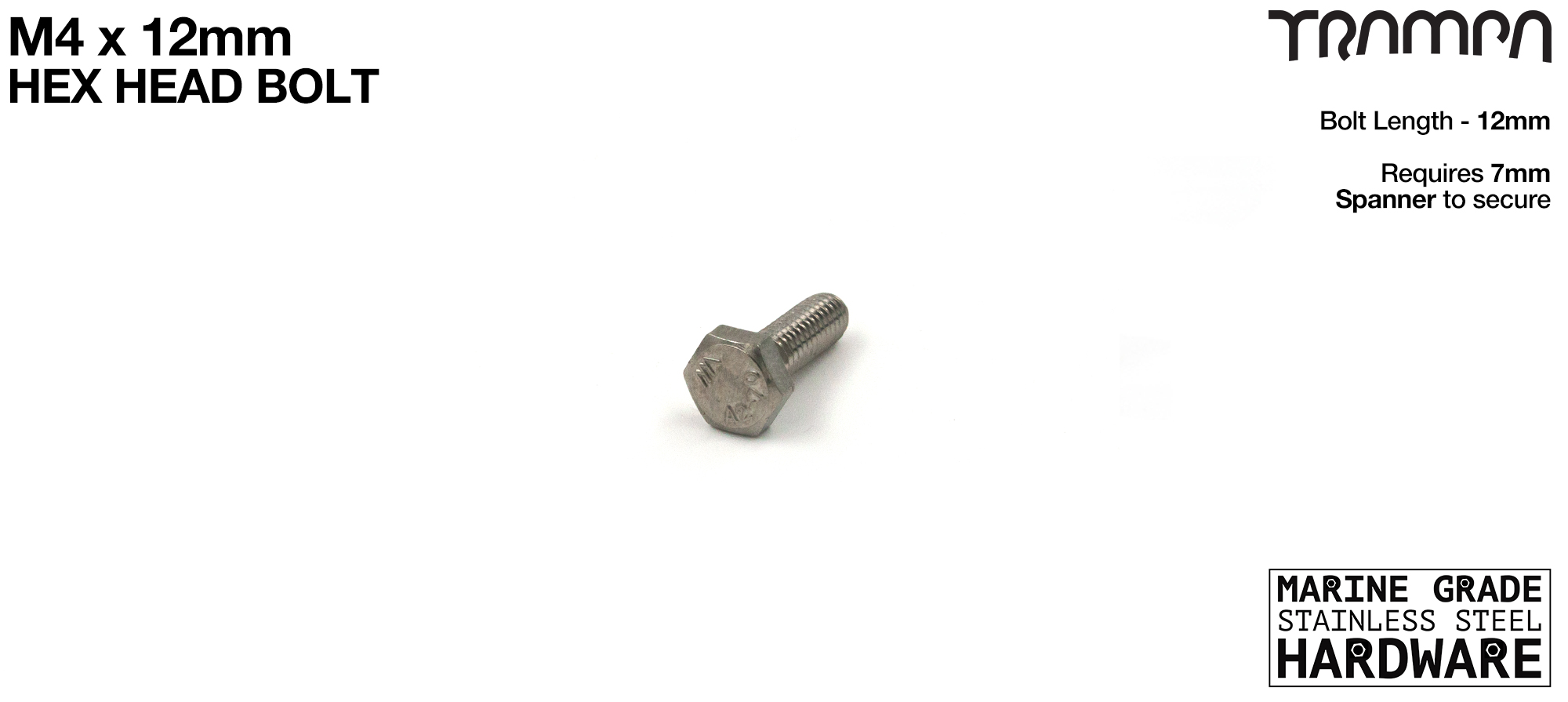 M4x12 HEX Head Bolt Marine Grade Stainless Steel