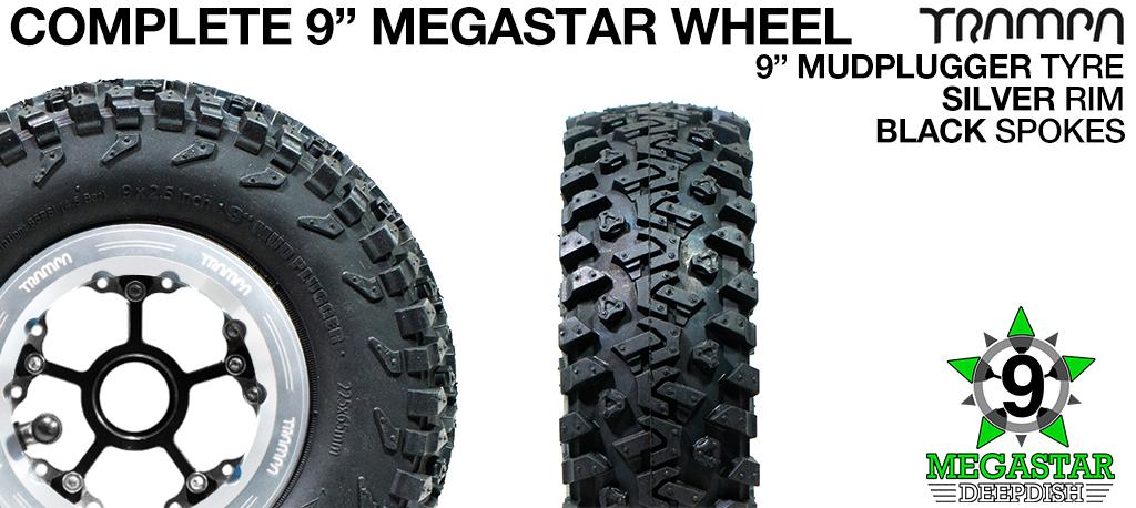 SILVER 9 inch Deep-Dish MEGASTARS Rim with BLACK Spokes & 9 Inch MUD-PLUGGER Tyres