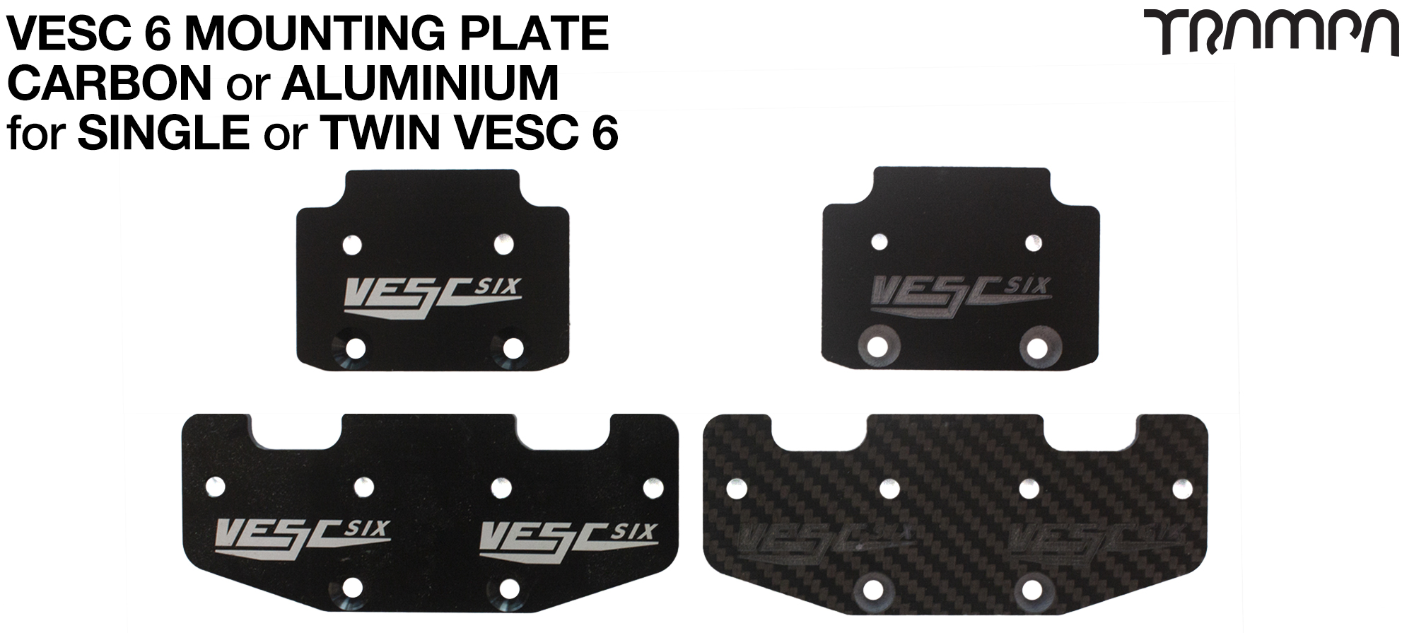 VESC Mounting Plate - SINGLE or TWIN Carbon Fibre or Aluminium