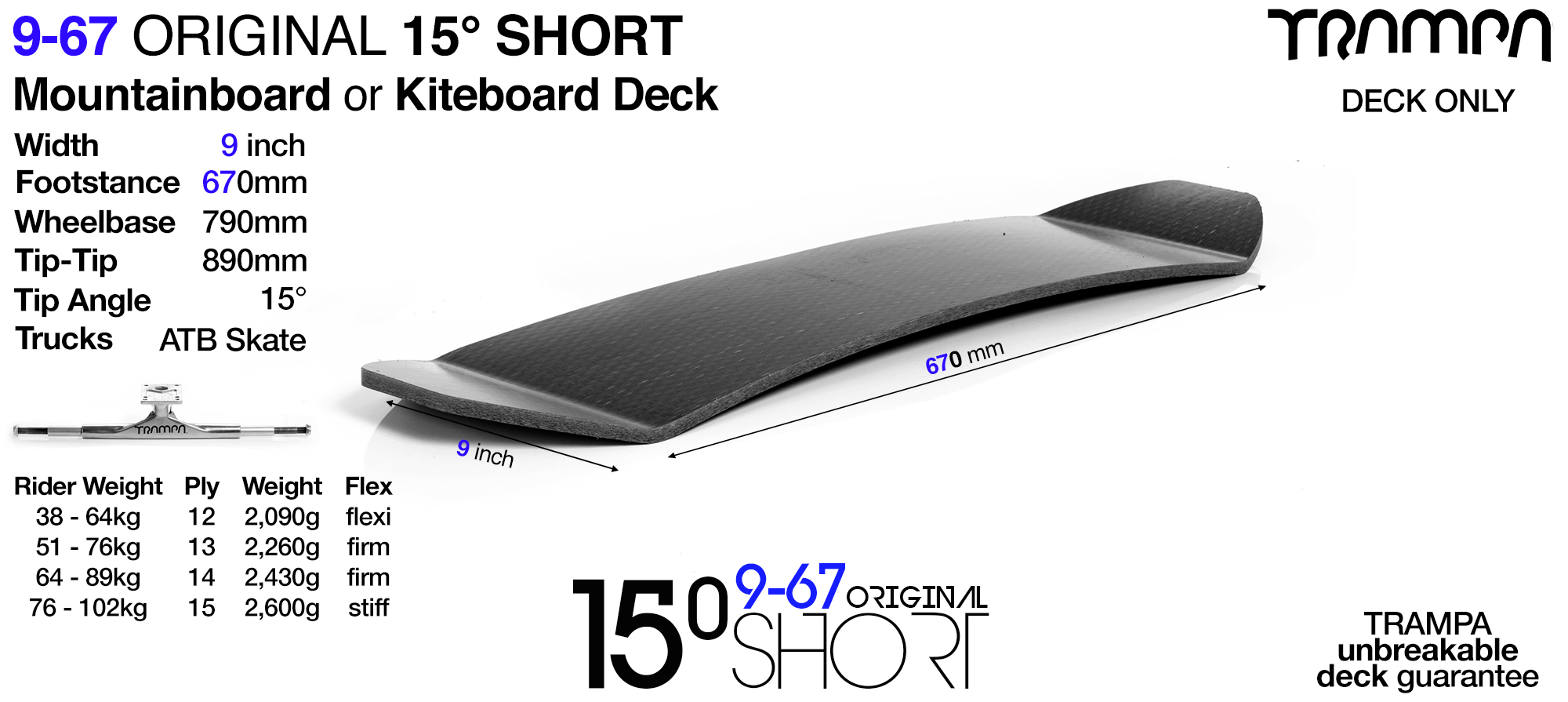 15° Short BLANK TRAMPA Deck