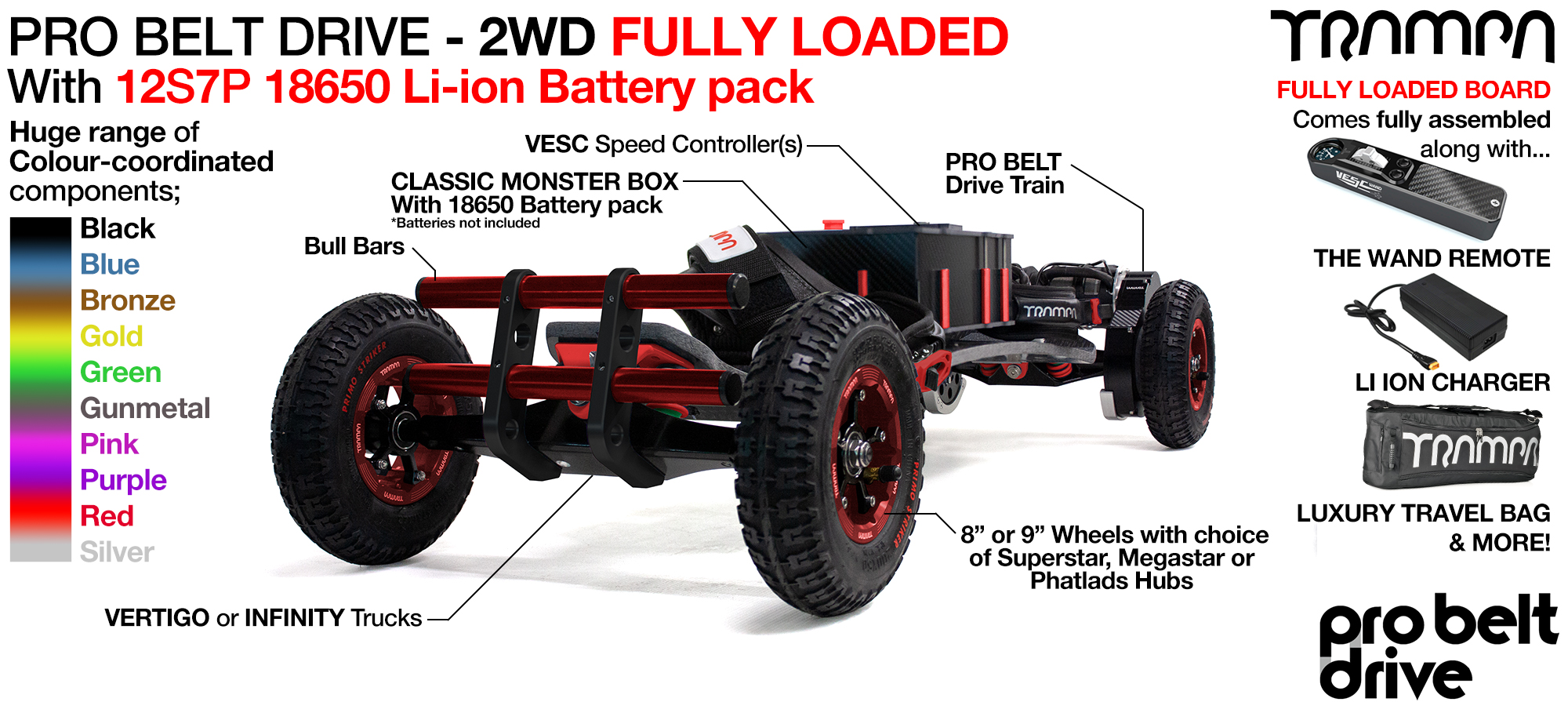 TRAMPA PRO Belt Drive Electric mountainboard FULLY LOADED - 18650 Cell Pack with The WAND, 12s Charger & Bull Bars as standard!!