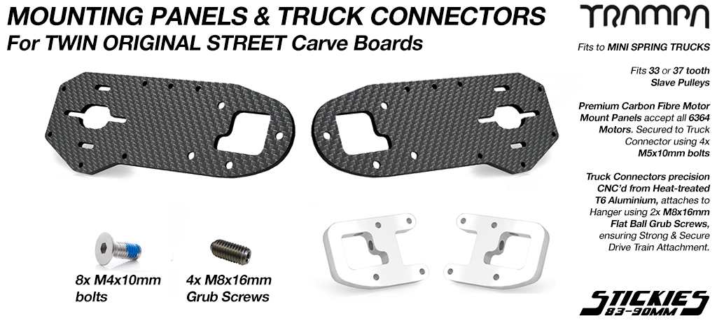 Original STREET Carver Carbon Fibre Motor Mount PANEL with T6 Motor Mount CLAMP & GRUB Screws - TWIN