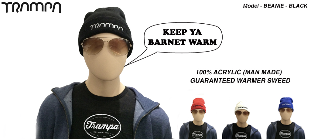 BLACK Wooli Hat with SILVER TRAMPA Embroidery - Double thick turn over for extra warmth