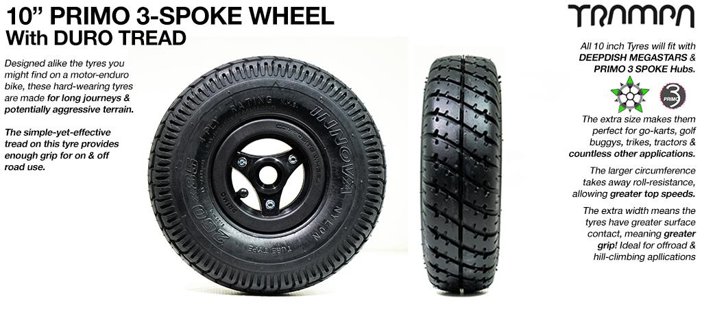 10 inch Wheel - Primo 3 Spoke DURO Tread