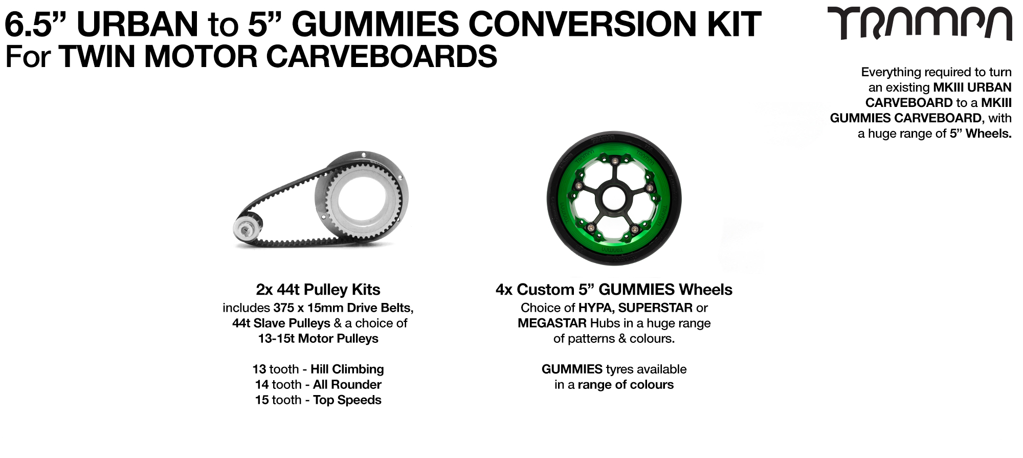Urban to Gummies Carveboard complete Conversion kit with 4x 7 Inch Custom HYPA wheels forTWIN Motor Mounts
