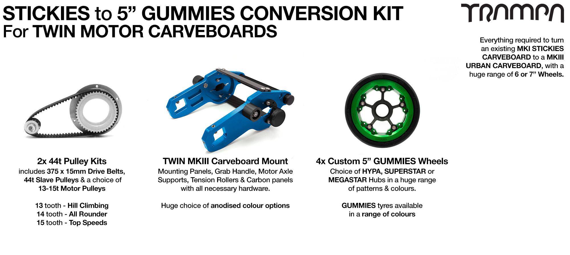 Street to GUMMIES Carveboard complete Conversion kit with 4x Custom GUMMIES SUPERSTAR wheels & TWIN Motor Mounts