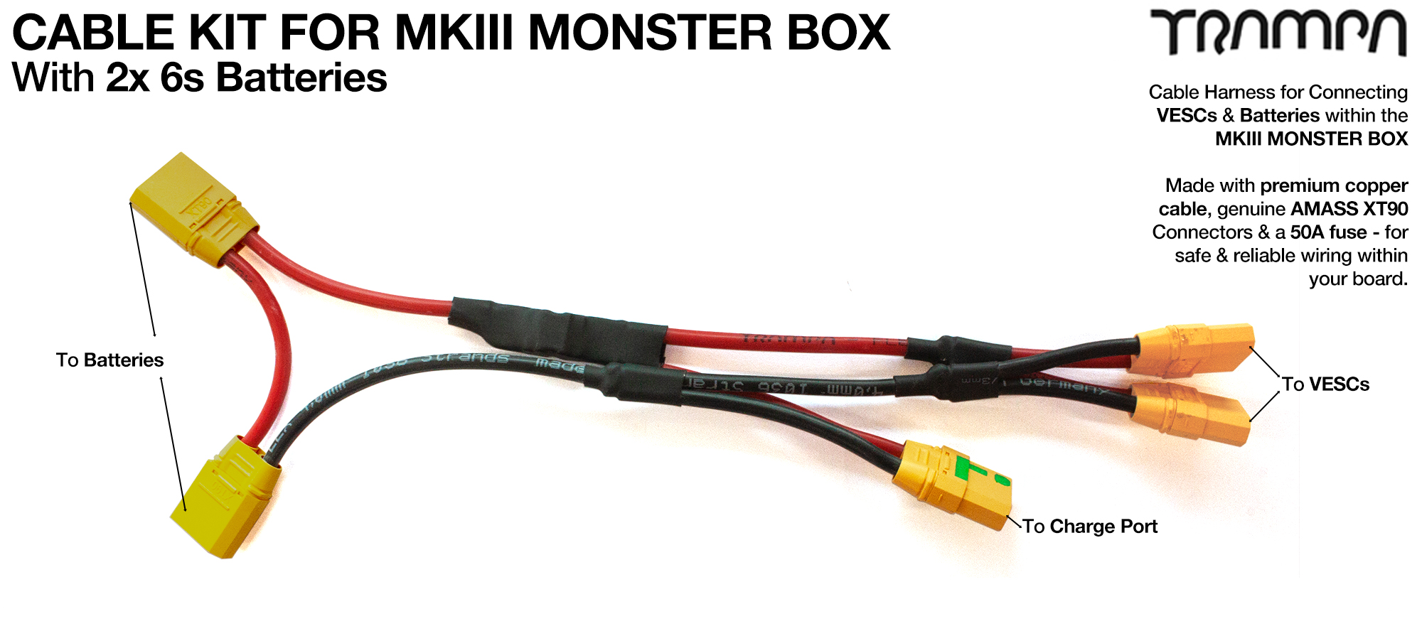 MkIII Monster Box cable kit for TWIN Motor using 2x 20000 mAh cells