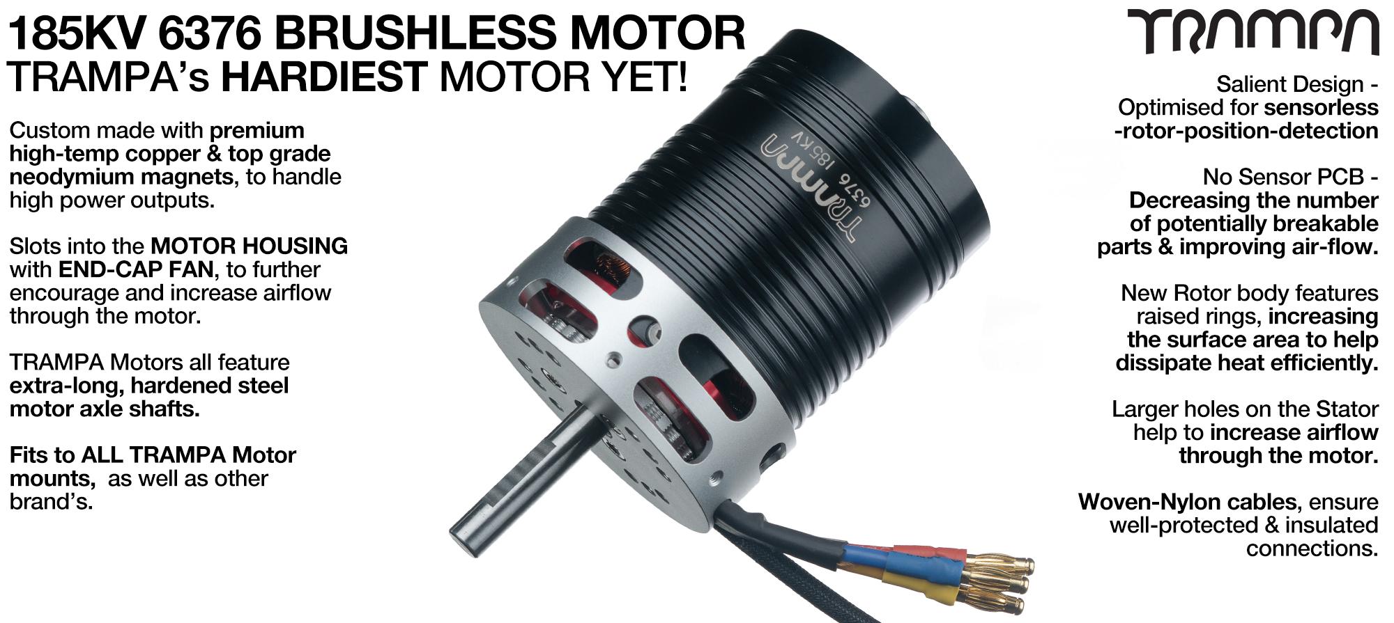 TRAMPA's own 6376 185Kv 3800w DC Brushless Motor - 300mm Sensor Cables Box
