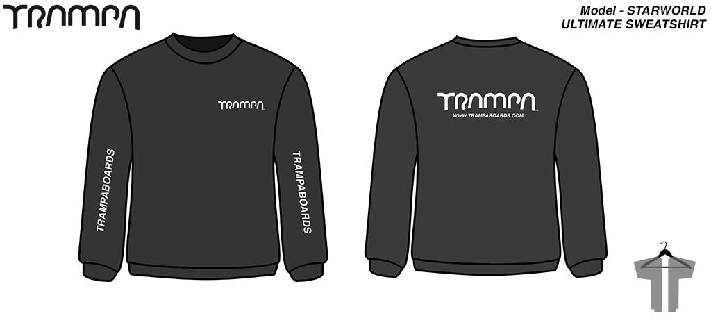 BLACK with SILVER print STARWORLD Sweatshirt - Round neck