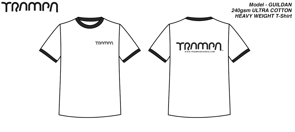 FOTL White Short Sleeve T-Shirt with Black Logo & piping