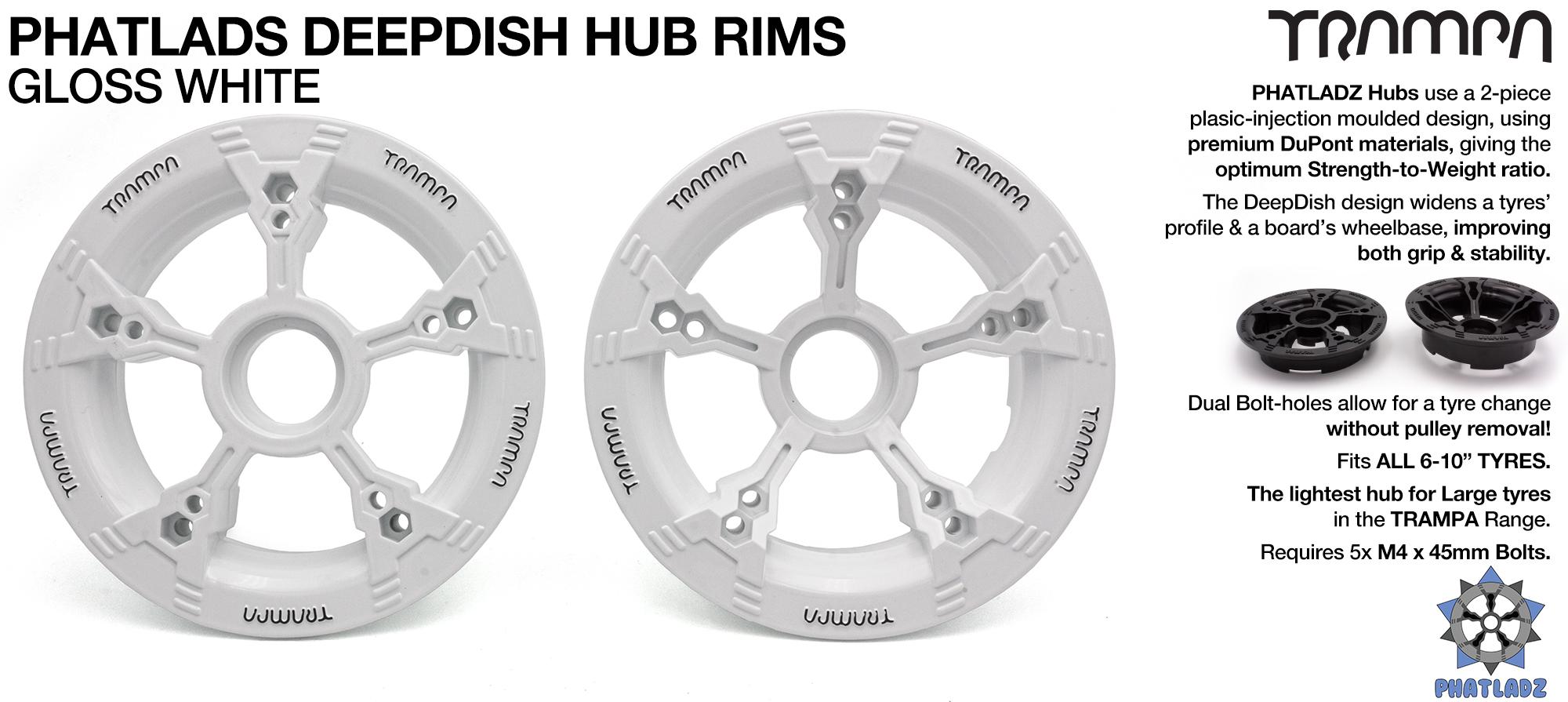 PHATLADS - 5 Spoke Hub Deep Dish Split Rim hub natural WHITE with Black Logo fits 6,7,8,9 & 10 Inch tyres!! Amazing