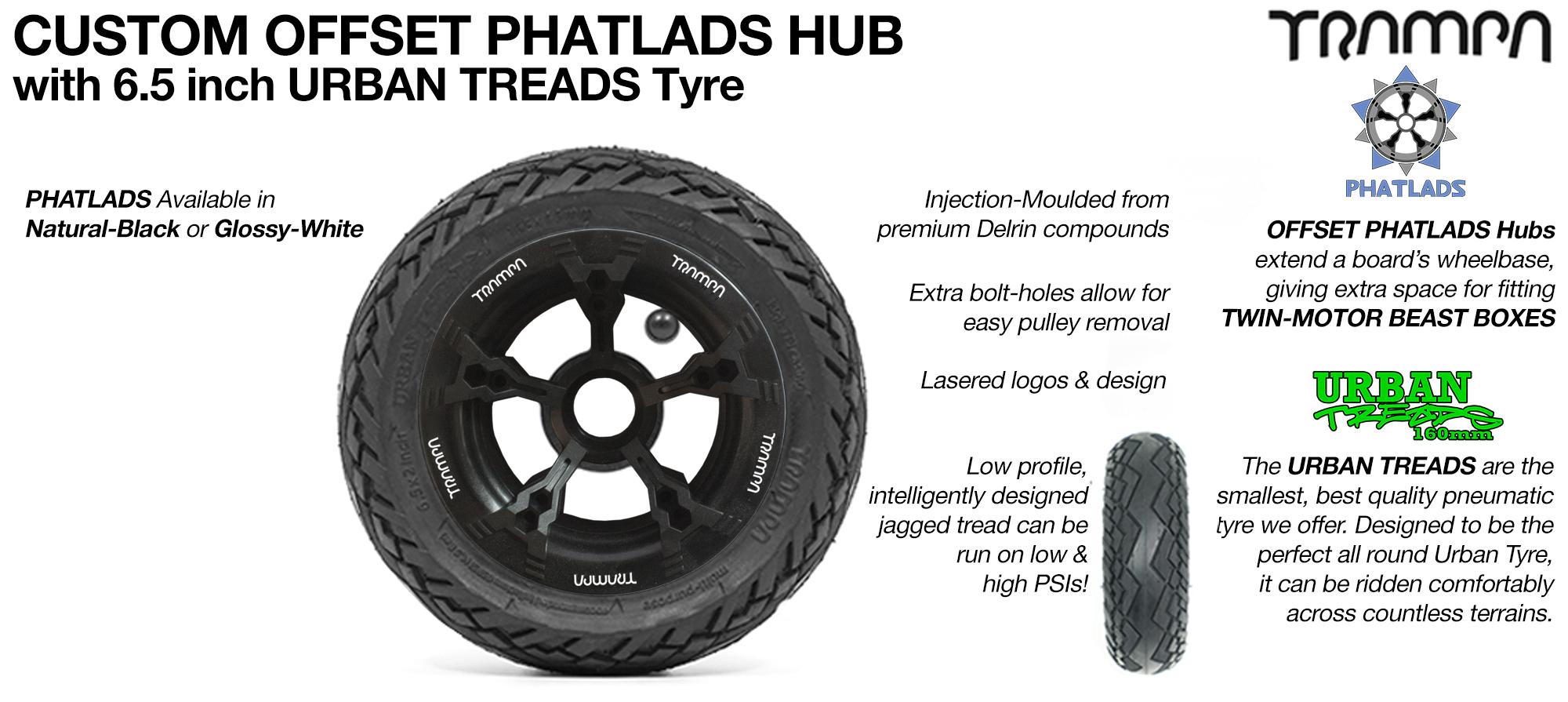PHATLADZ Deepdish hub with 6.5 Inch Low Profile URBAN Treads Tyres