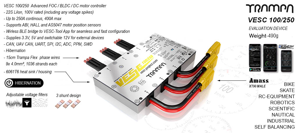 SINGLE VESC 100V 250A In CNC T6 Silicone Sealed Aluminum Box - The most Powerful Vedder Electronic Speed Controller ever