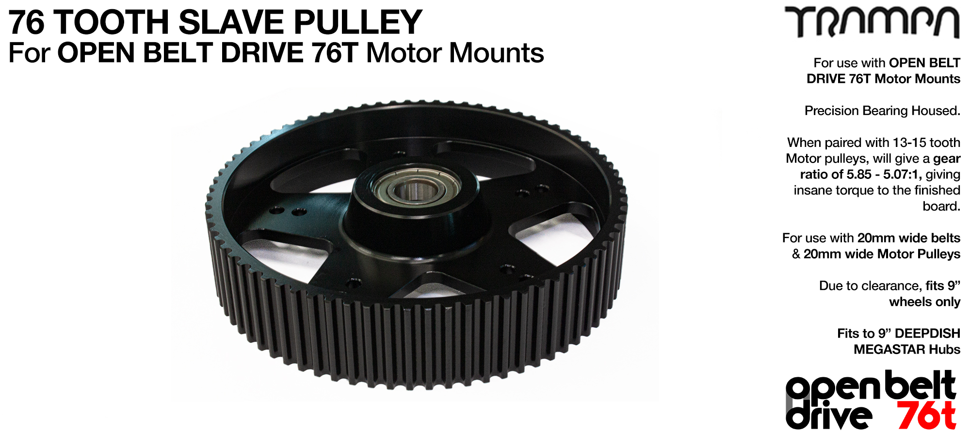 76 Tooth Slave Pulley with Pressed bearing - to fit 20mm Belts on OBD (OPEN BELT DRIVE) Motor Mounts