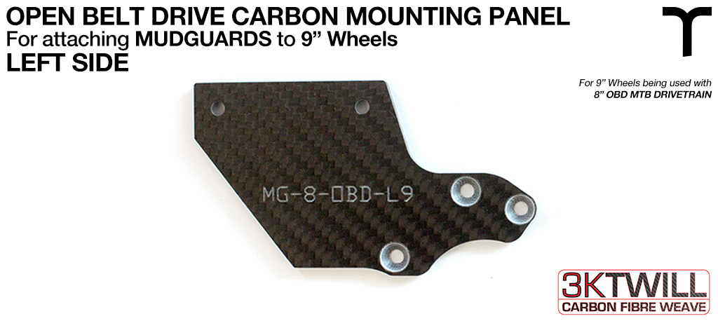 9 inch Mud Guard 3mm Carbon Fibre OPEN BELT DRIVE Mounting Panel V2 - LEFT