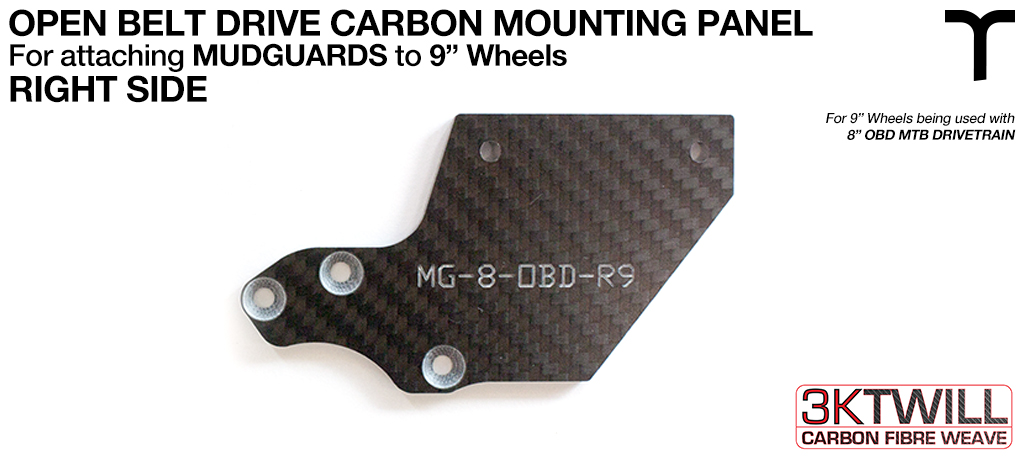 9 inch Mud Guard 3mm Carbon Fibre OPEN BELT DRIVE Mounting Panel V2 - RIGHT