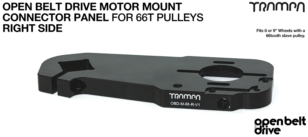 OBD Open Belt Drive Motor Mount Connector Panel for 66 tooth Pulleys - GOOFY - BLACK