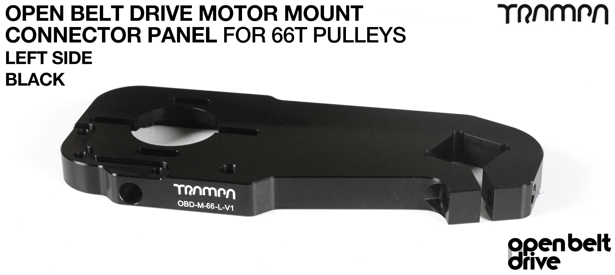 OBD Open Belt Drive Motor Mount Connector Panel for 66 tooth Pulleys - REGULAR - BLACK