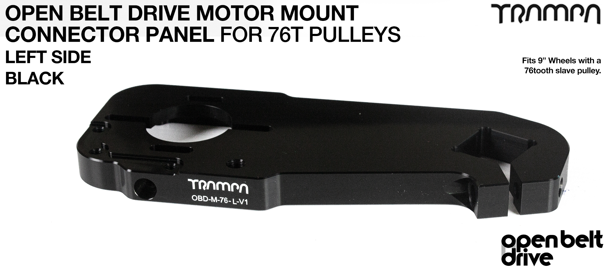 OBD Motor Mount Connector Panel for 76 tooth pulleys - REGULAR - BLACK