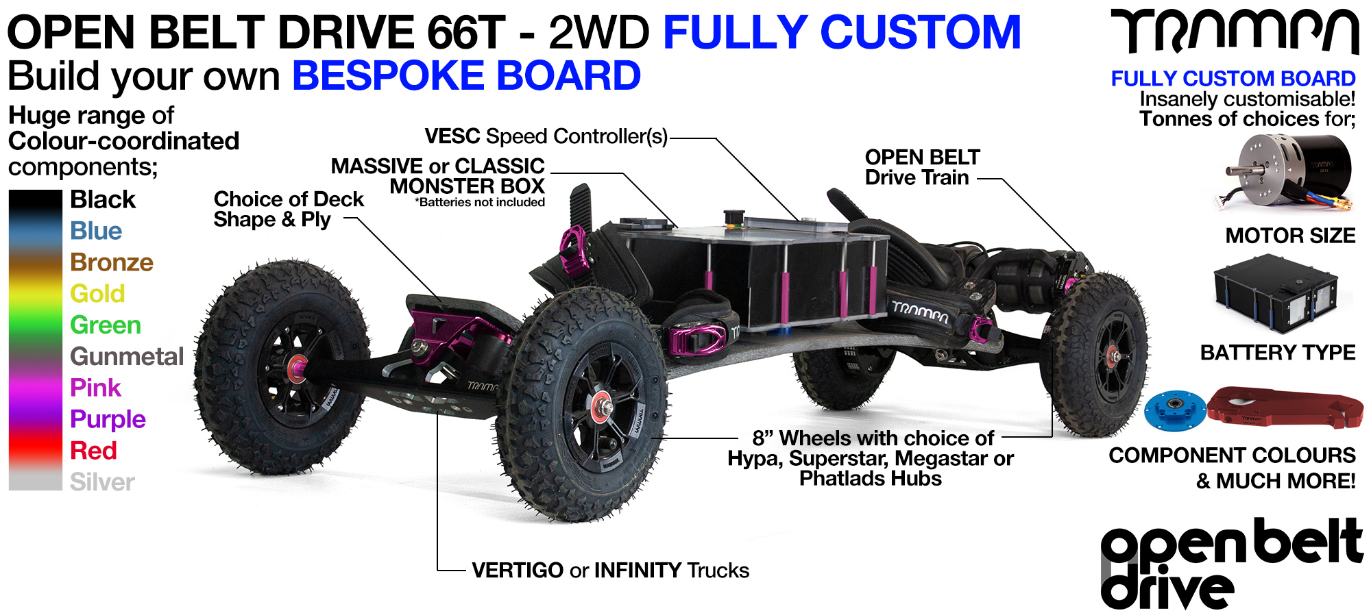 OPEN BELT DRIVE Electric Mountainboard with MONSTER Box with 8 Inch Wheels - CUSTOM