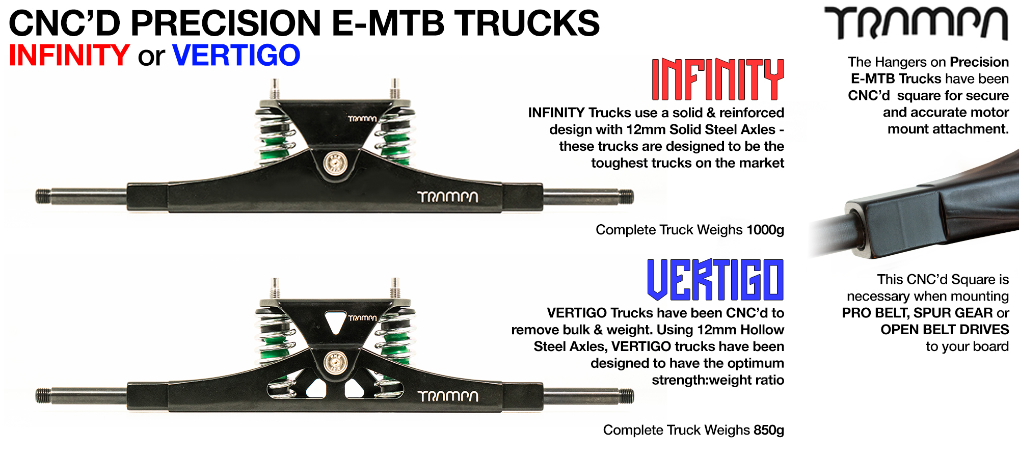 CNC Precision E-MTB Truck  - 16 inch wide with 12mm SOLID Axles with Infinity Baseplate & Steel kingpin