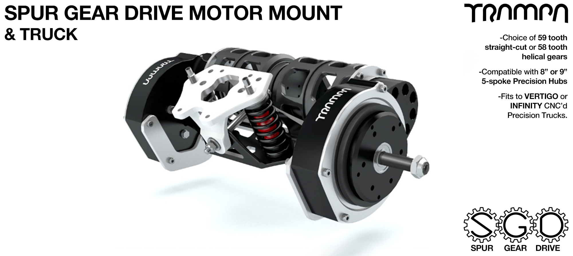 Mountainboard Spur Gear Drive TWIN Motor Mount & TRUCK