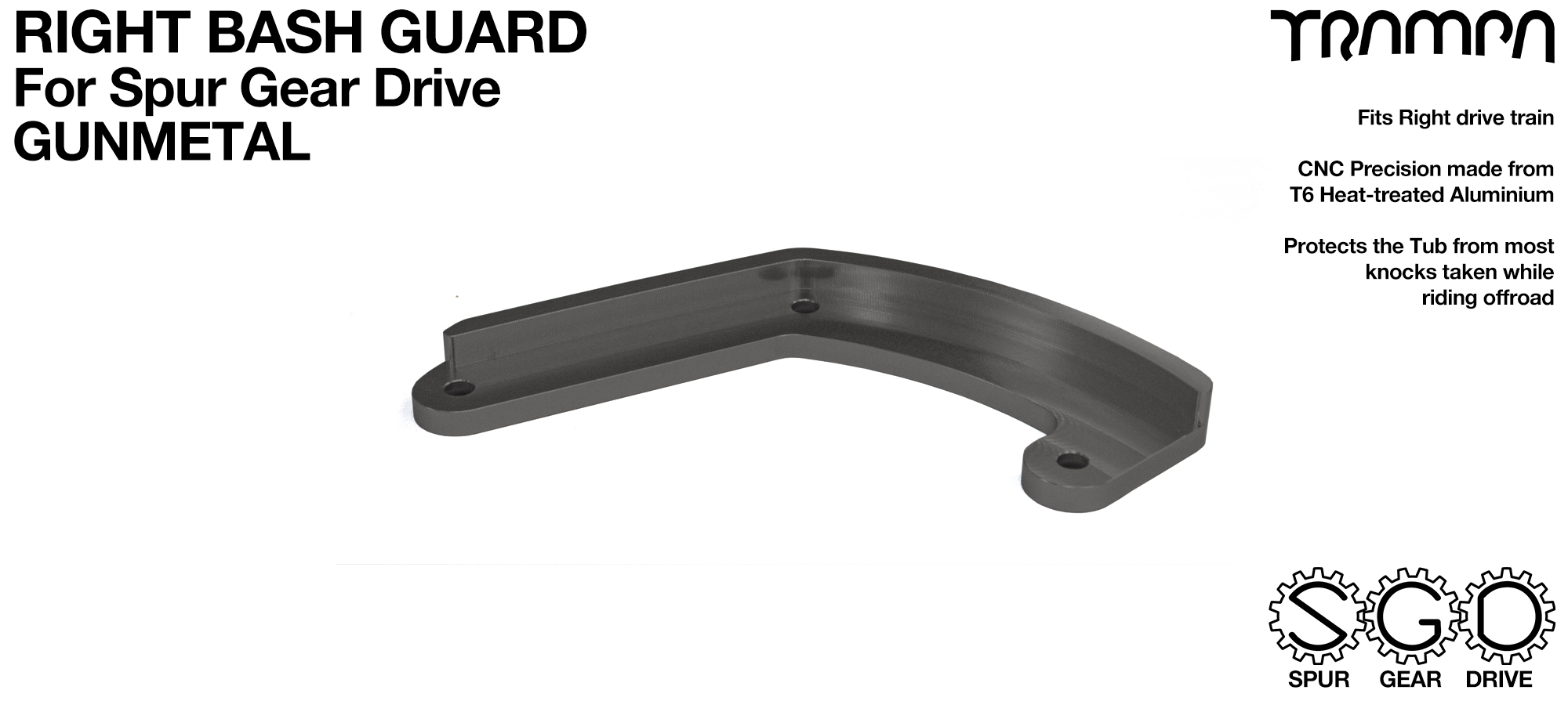 MkII Spur Gear Drive Bash Guard - RIGHT Side - GUNMETAL