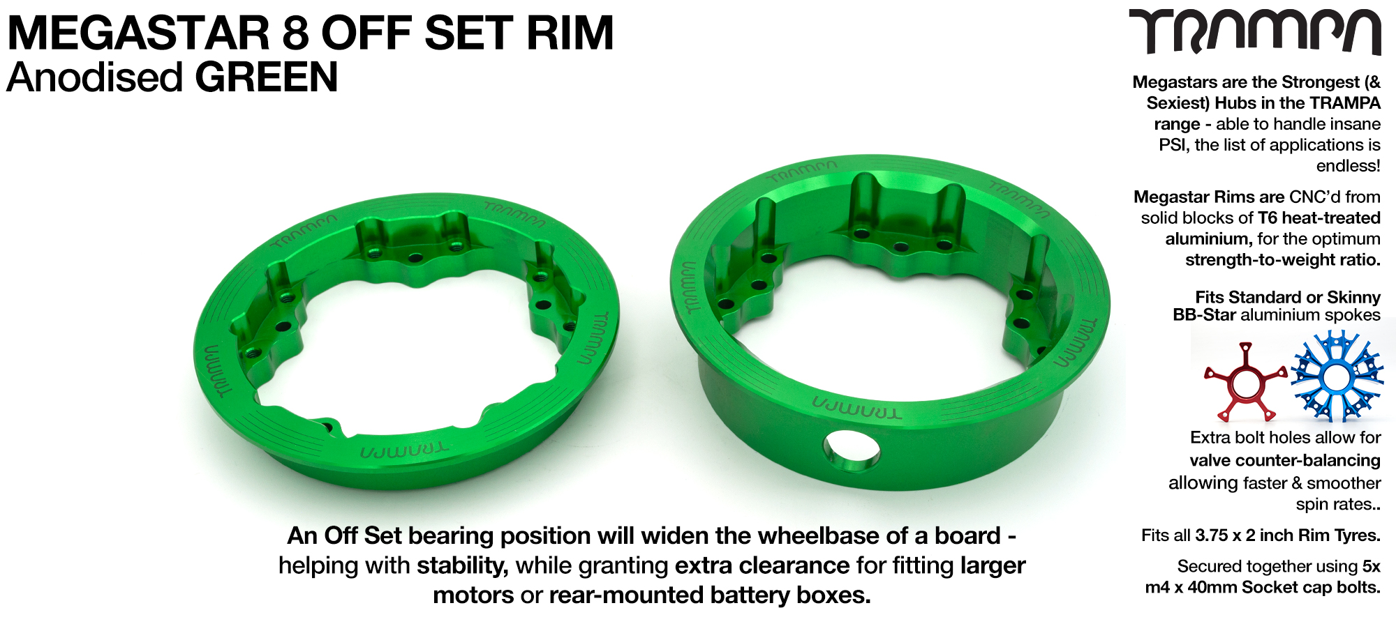 8 Inch MEGASTAR Rim OFF SET - Anodised GREEN - Pro OFF-SET Superstars will widen your wheel base by 15mm