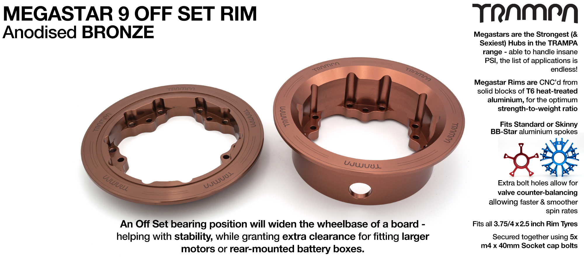 9 Inch DEEP DISH Off-Set MEGASTAR Rims BRONZE - Place two on the rear of your Electric Mountainboard for extra Grip & Top Speed!