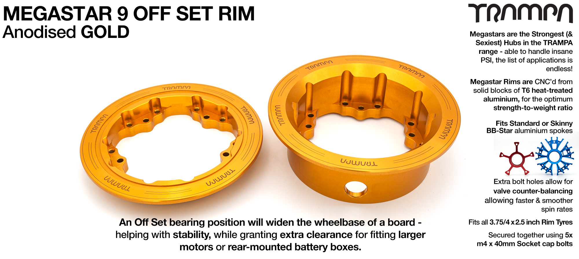 9 Inch DEEP DISH Off-Set MEGASTAR Rims GOLD - Place two on the rear of your Electric Mountainboard for extra Grip & Top Speed!