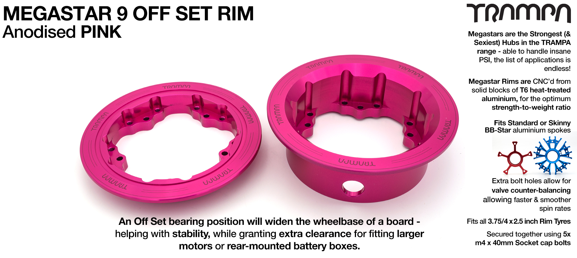 9 Inch DEEP DISH Off-Set MEGASTAR Rims PINK - Place two on the rear of your Electric Mountainboard for extra Grip & Top Speed!  (COPY)