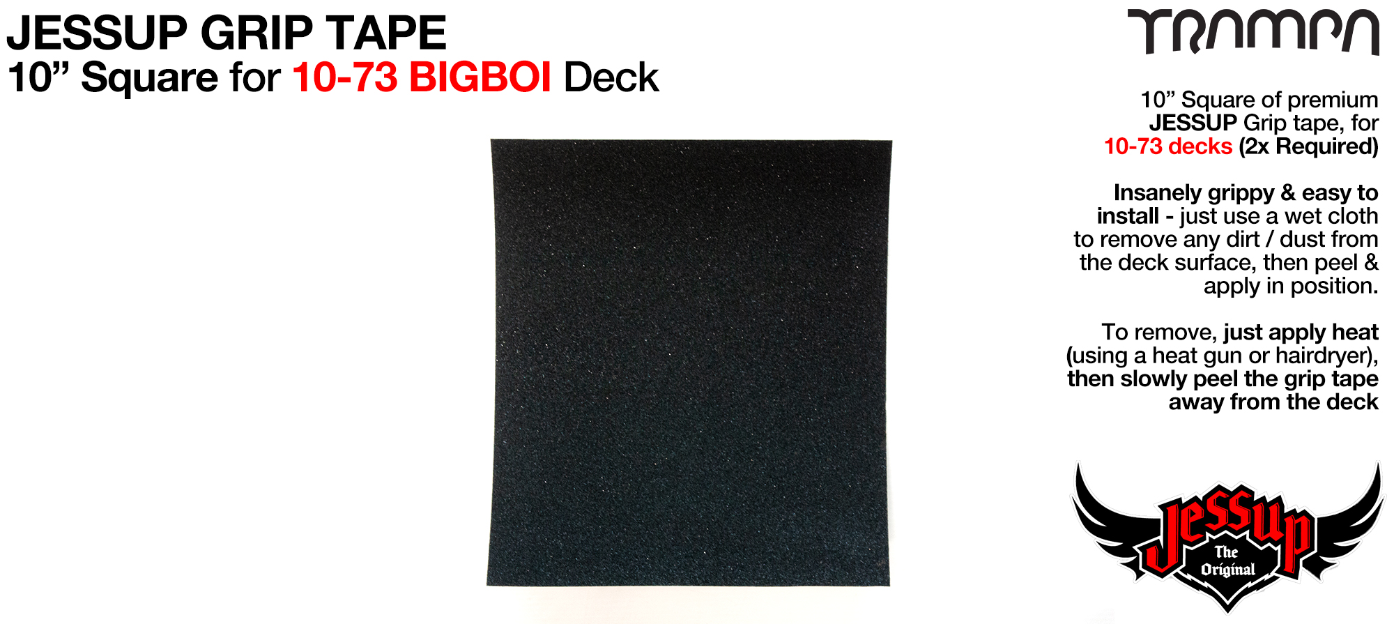 1x 10 Inch squares of Top Quality Jessup Grip tape