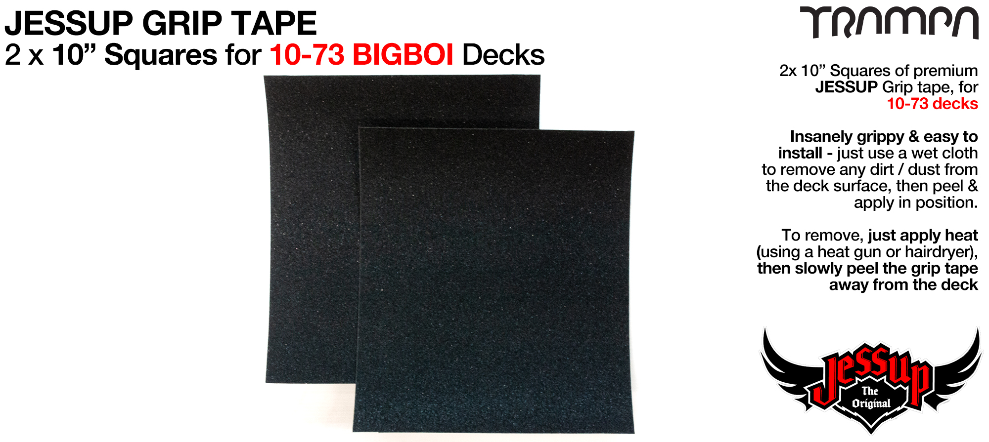 Grip tape - 2 x 10 inch squares for 10-73 Decks - Jessup