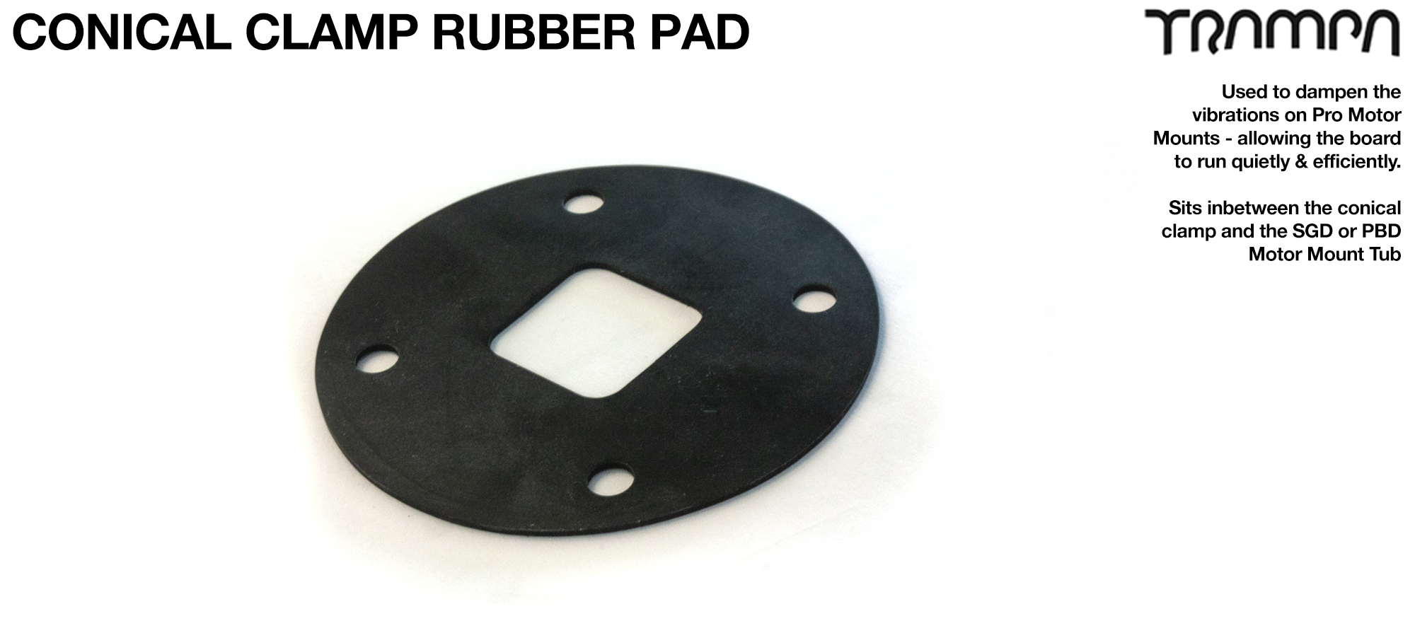 PRO Mountainboard Motor Mount Rubber pad for Conical Clamps - Fits both BELT & SPUR Gear Drive Motor Mounts