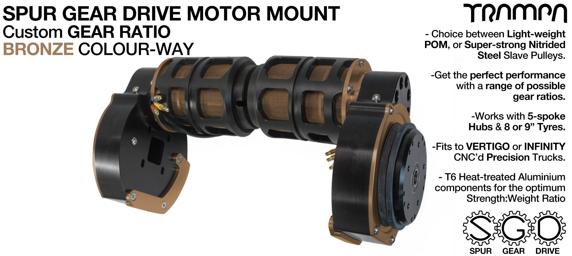 Mountainboard Spur Gear Drive TWIN Motor Mount - BRONZE