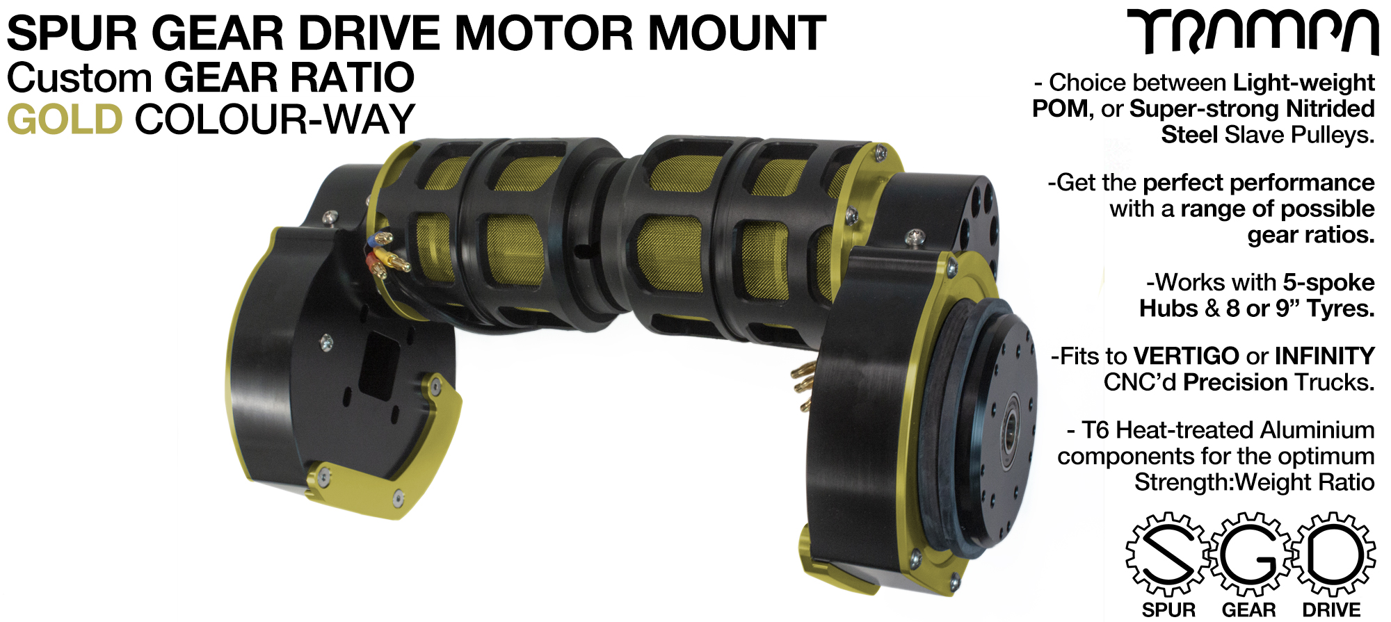 Mountainboard Spur Gear Drive TWIN Motor Mount - GOLD