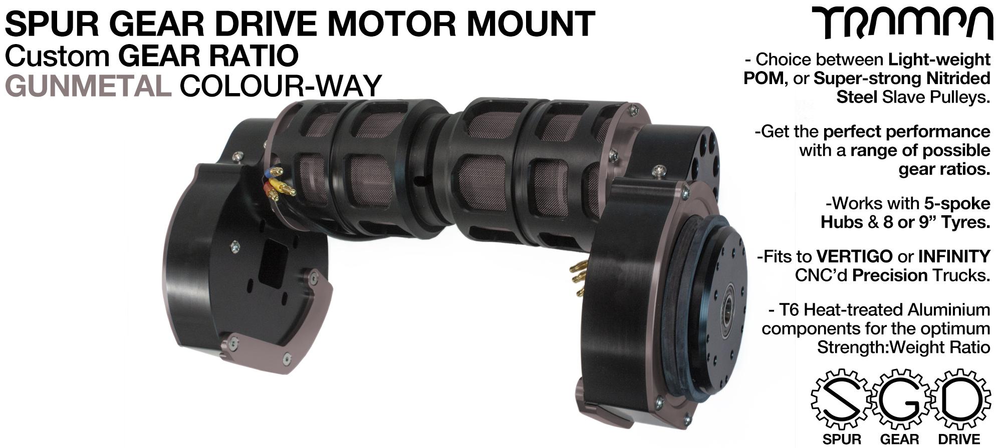 Mountainboard Spur Gear Drive TWIN Motor Mount - GUNMETAL