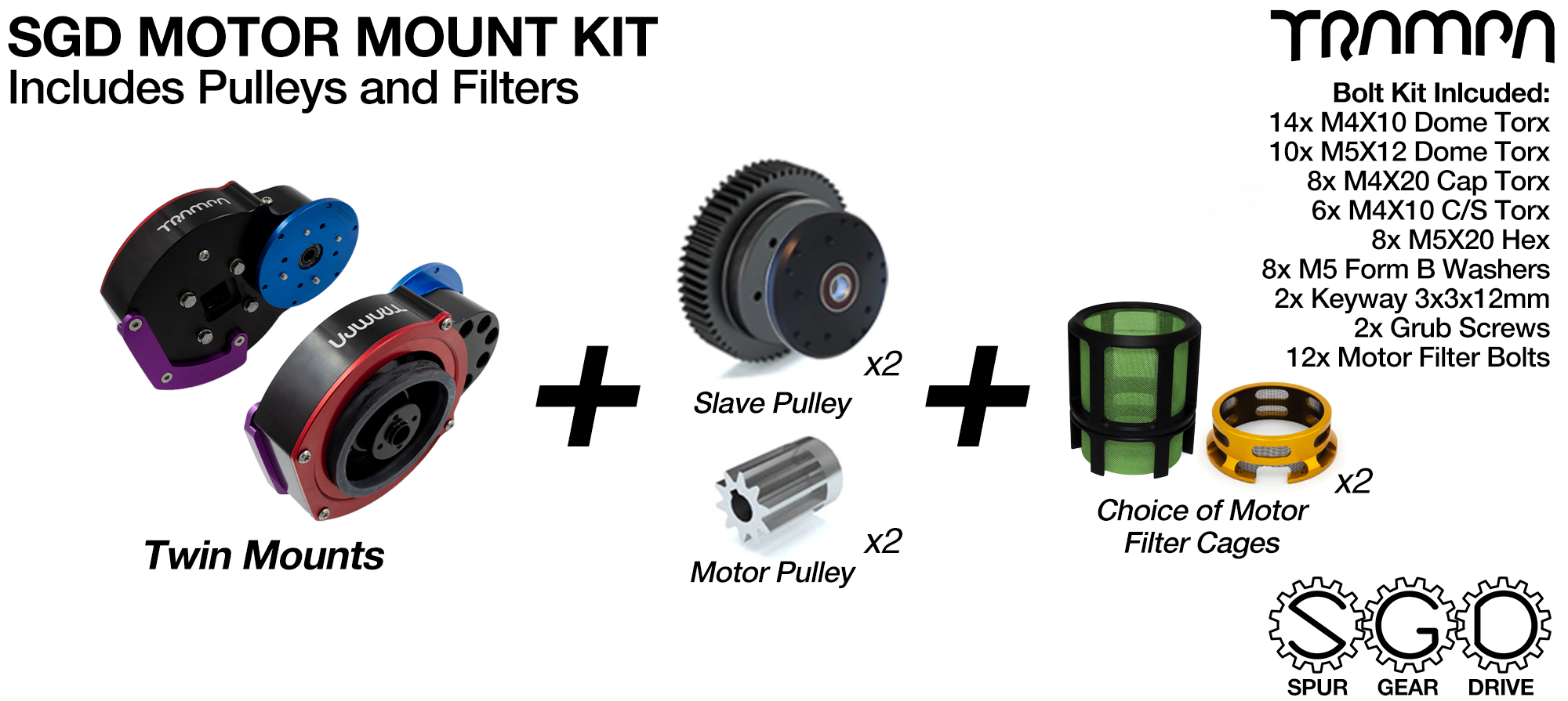 Mountainboard Spur Gear Drive TWIN Motor Mount