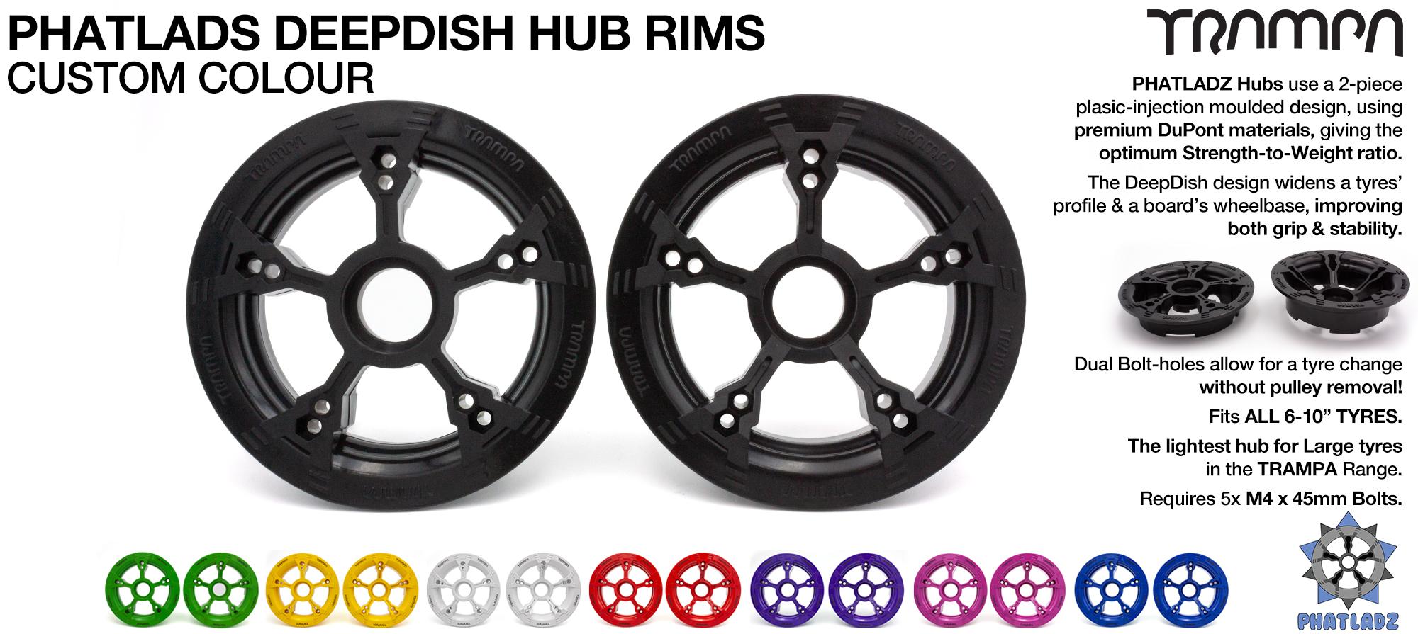 PHATLADS - 5 Spoke Hub Deep Dish Split Rim hub fits 6,7,8,9 & 10 Inch tyres!! Amazing