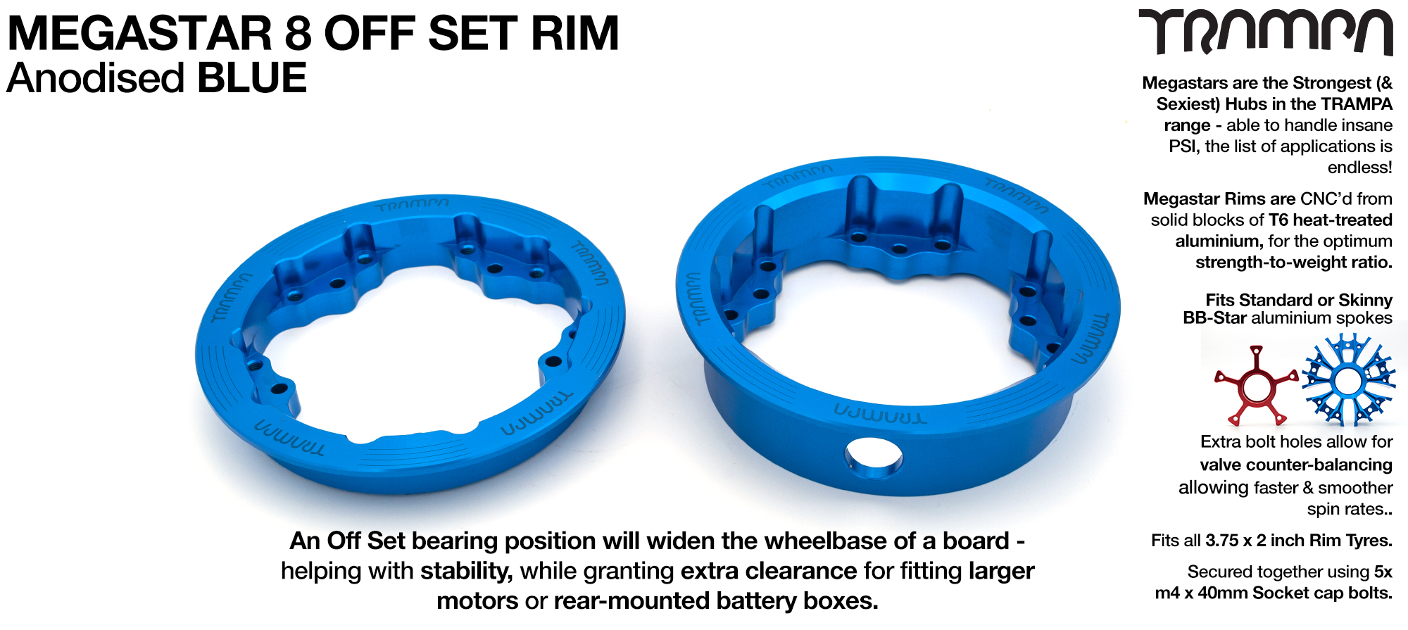 8 Inch MEGASTAR Rim OFF SET - Anodised BLUE - Pro OFF-SET Superstars will widen your wheel base by 15mm