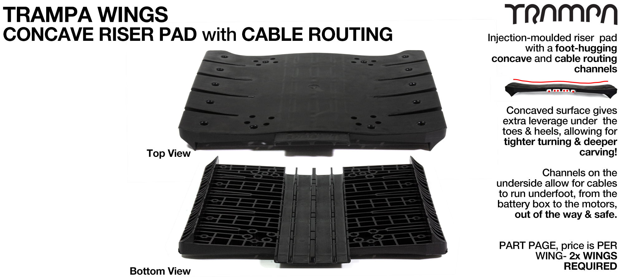 TRAMPA WINGS will widen your deck, stiffen the flex, route the cables and increase your overall performance!!