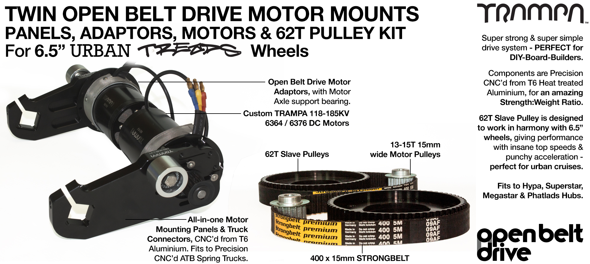 66T OBD Motor Mount with 62T Pulley kit & custom Motor - TWIN