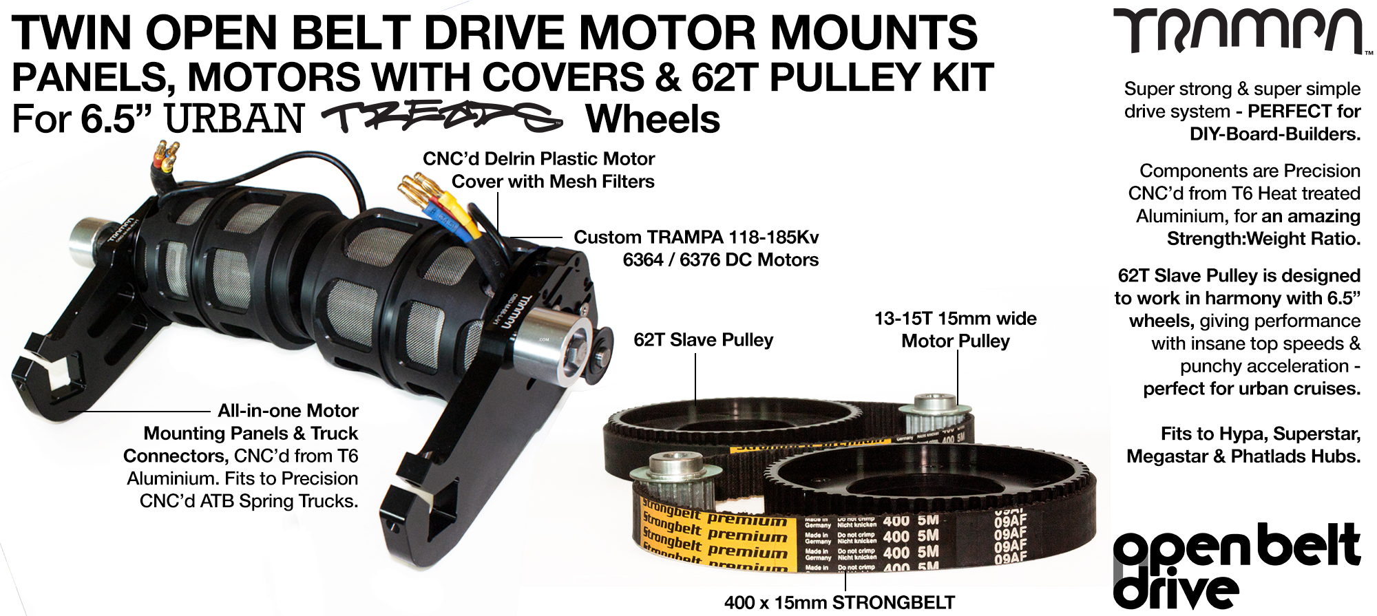 66T OBD Motor Mount with 62T Pulley kit, Motor & Filters  - TWIN