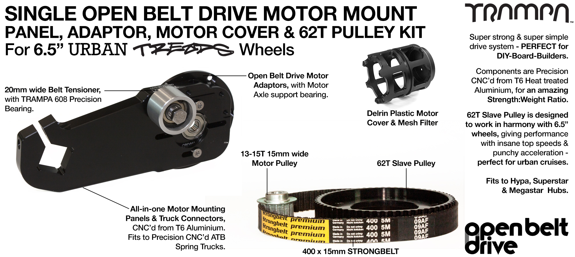 66T OBD Motor Mount with 62T Pulley kit & Motor Filters - SINGLE
