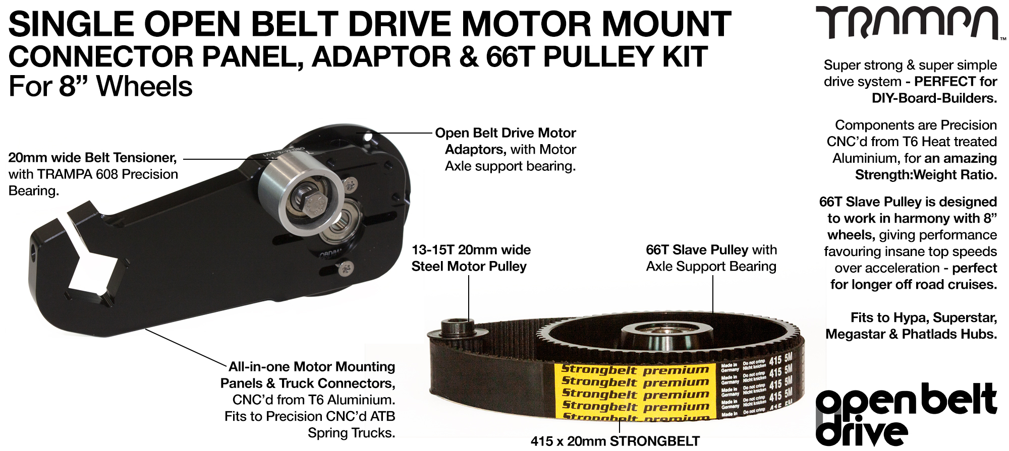 66T OBD Motor Mount & 66 tooth Pulley for 8 Inch Wheel - SINGLE