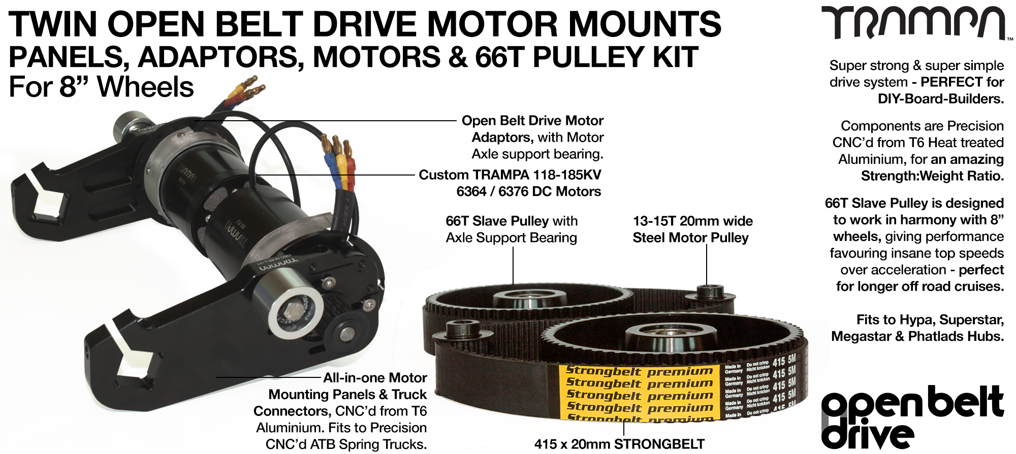 66T OBD Motor Mount & 66 tooth Pulley for 8 inch Wheel with custom Motor - TWIN
