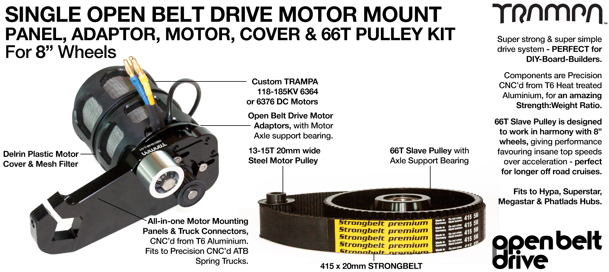 66T OBD Motor Mount with 66 tooth Pulley for 8 inch Wheels Custom TRAMPA Motor & Motor Protection Filter - SINGLE