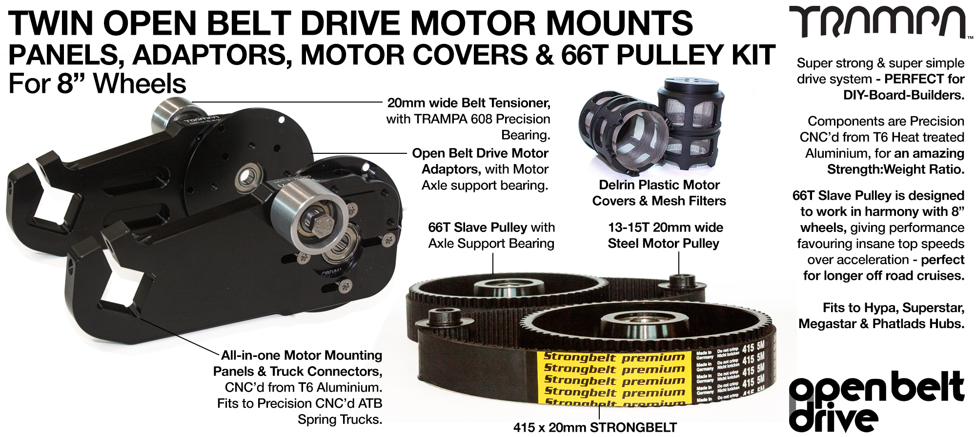 66T Open Belt Drive OBD Motor Mount with 66 tooth Pulley Kit for 8 inch Wheels & Motor Protection - TWIN