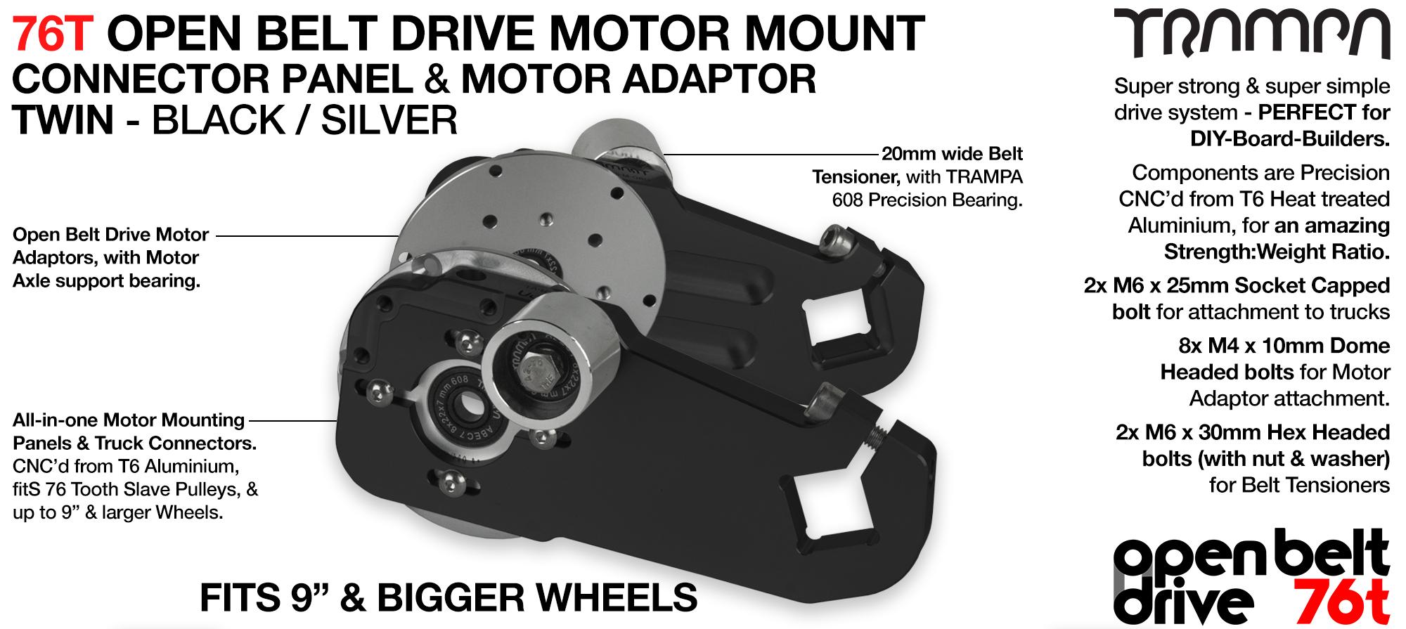 76T Open Belt Drive Motor Mount & Motor Adaptor - TWIN BLACK